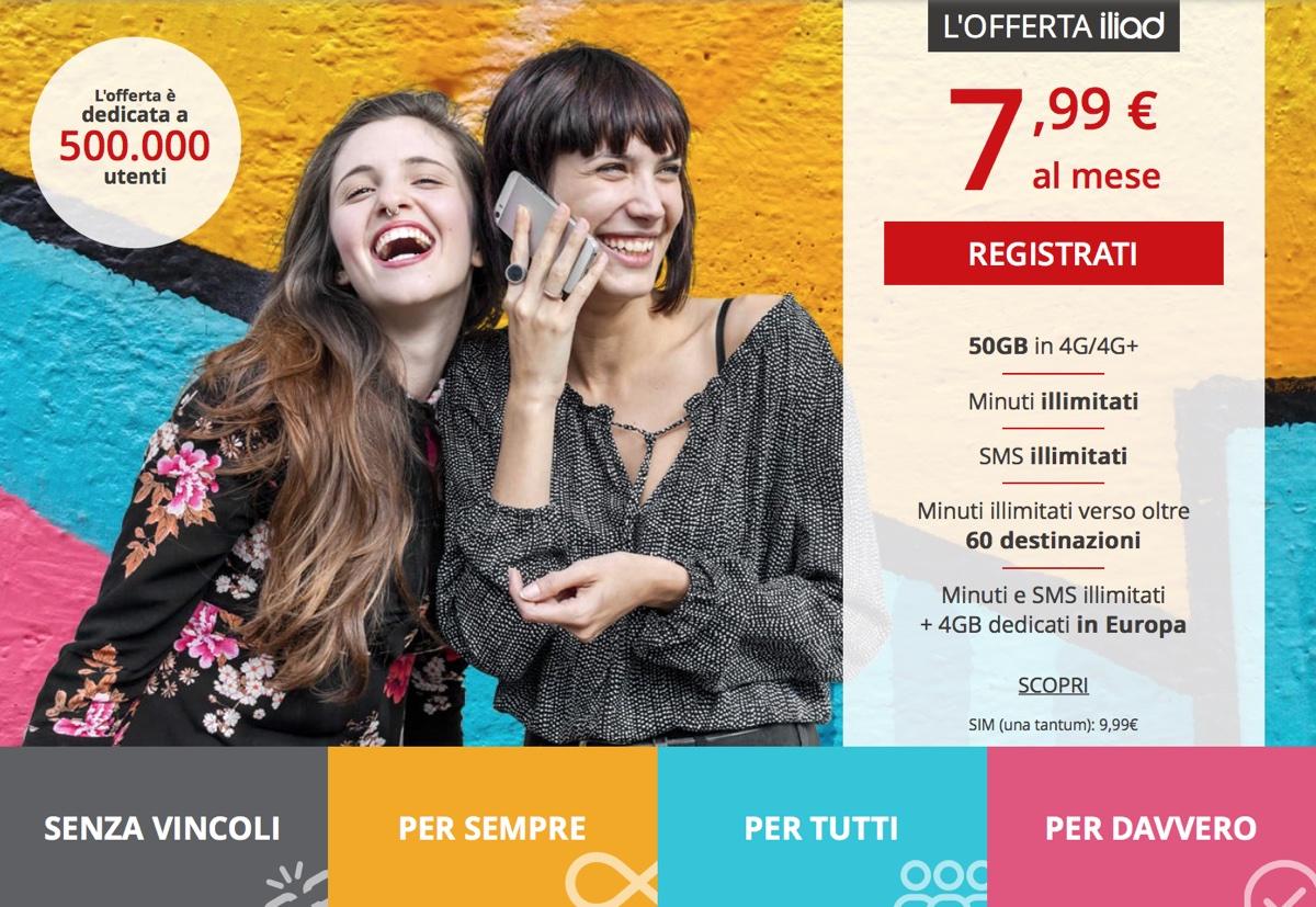 Super offerta iliad 50GB con minuti e SMS illimitati per festeggiare 2 milioni di utenti