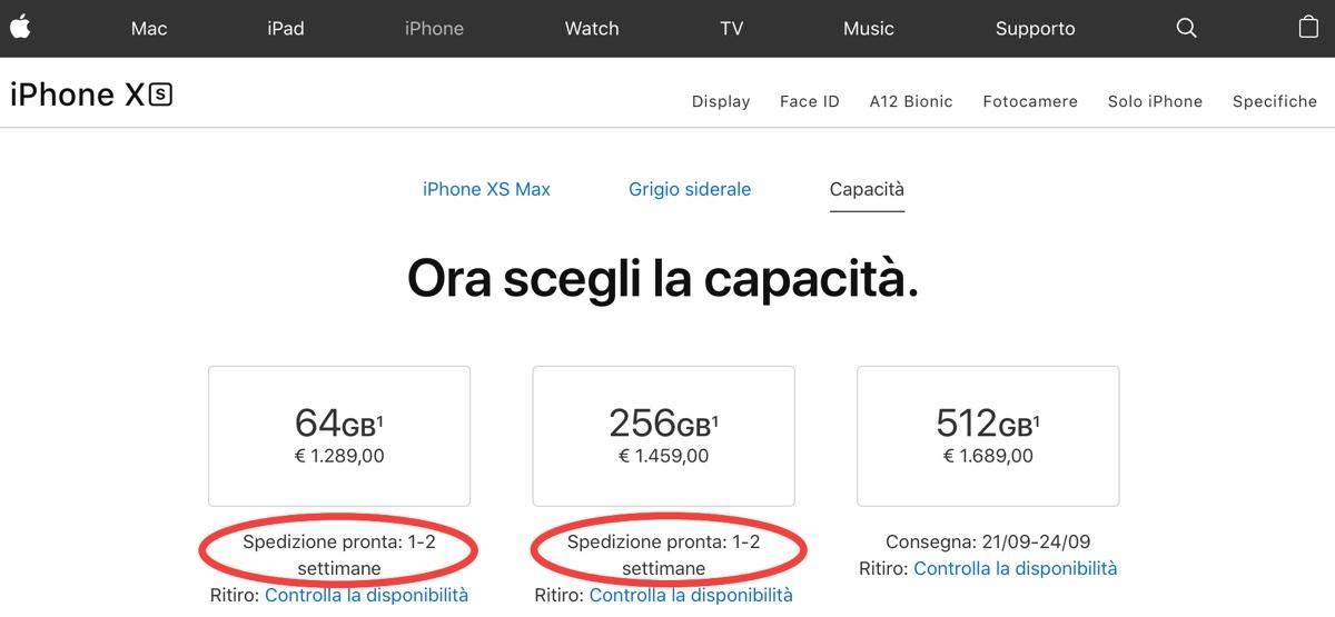 Preordini iPhone XS, XS Max e Apple Watch 4 Aggiornato: slittano i tempi di XS Max e Watch 4