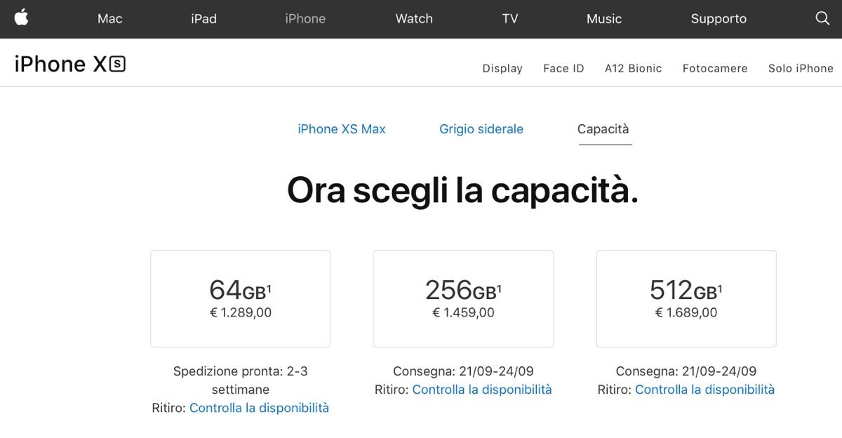 Apple Store disponibile, iniziano i preordini iPhone XS, XS Max e Apple Watch 4 – Aggiornato