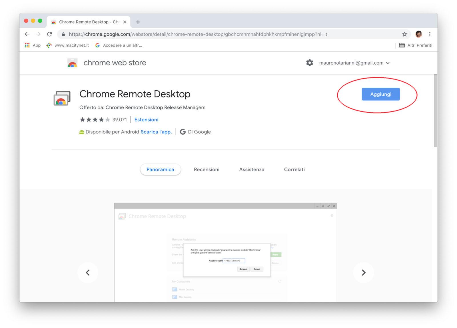 Aggiungere Chrome Remote Desktop