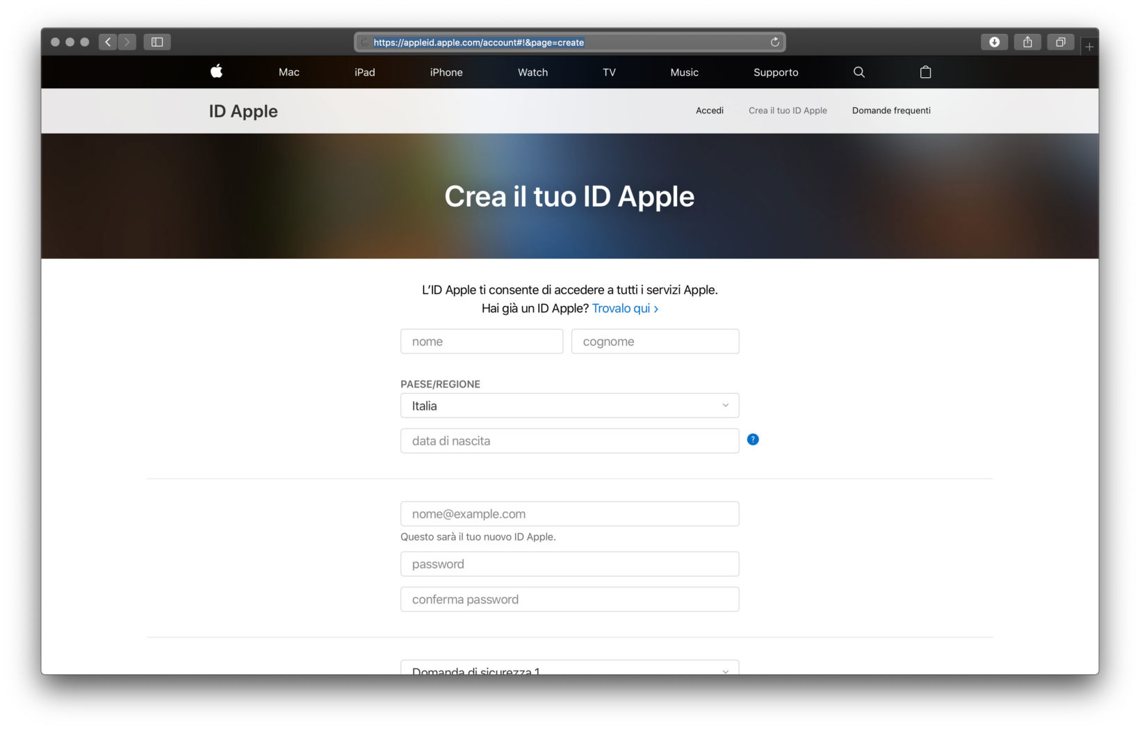 Creare Apple ID