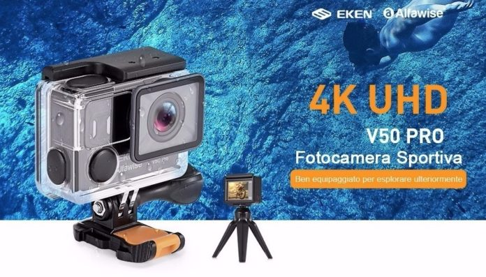 Action cam 4K con treppiede e telecomando in offerta a 58 euro