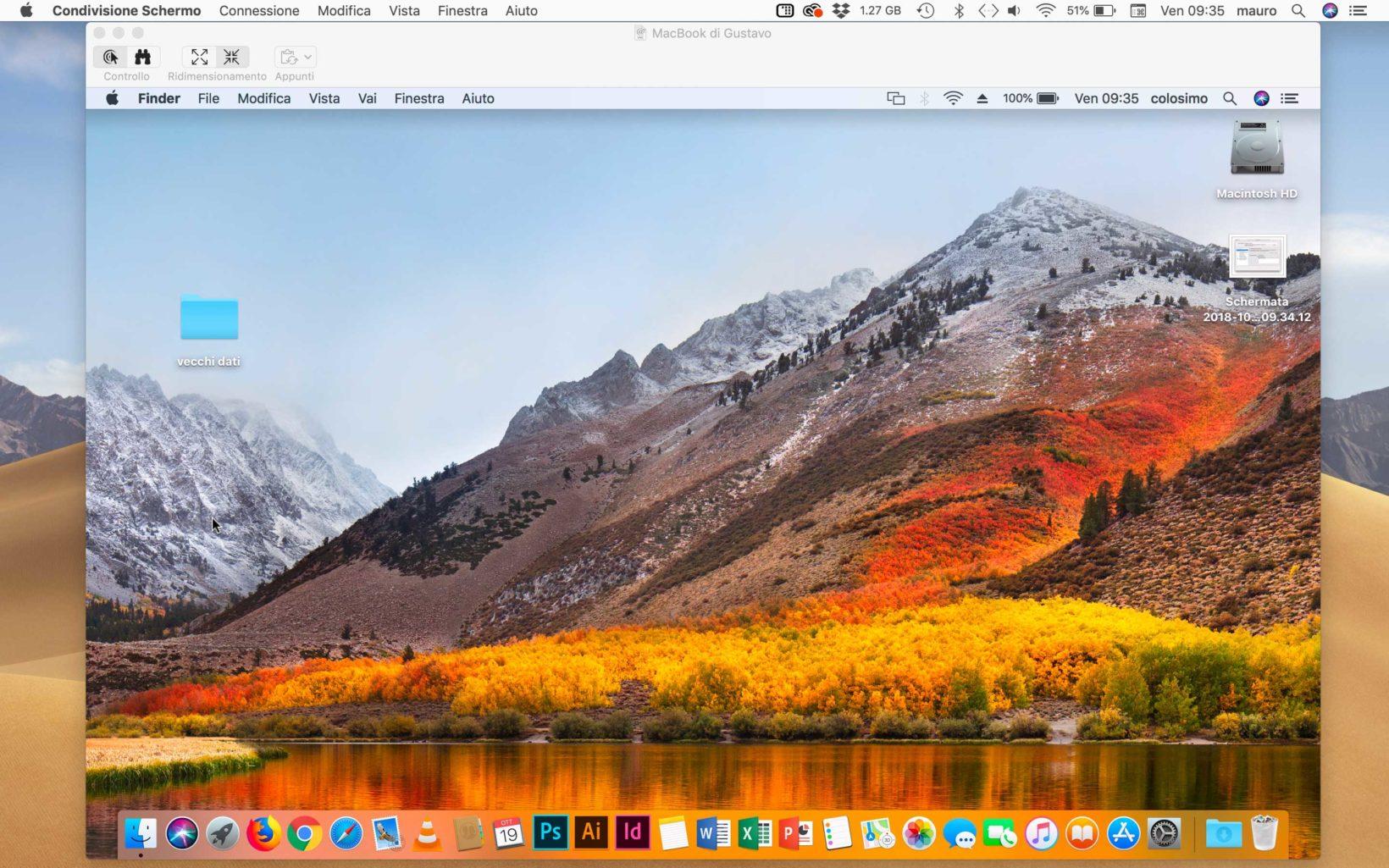 Un Mac con macOS Mojave controlla in remoto un diverso Mac con macOS High Sierra.