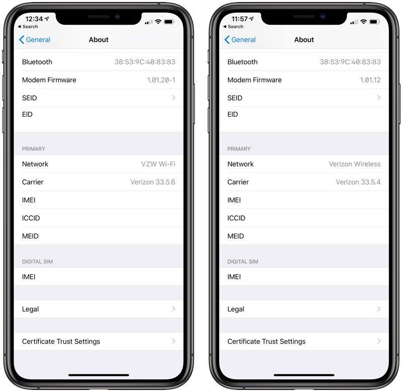 A destra la nuova versione del firmware modem di iOS 12 - Foto: Macrumors