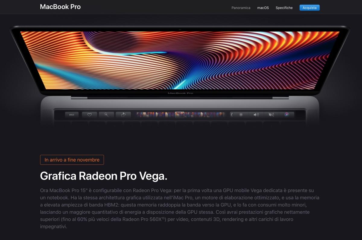 macbook pro con radeon pro vega - apple annuncia