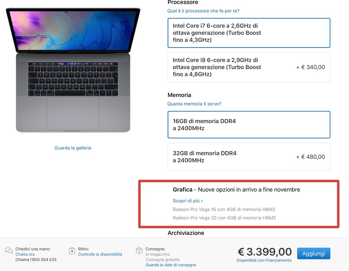 """Apple annuncia MacBook Pro 15"""" con Radeon Pro Vega, la stessa GPU di iMac Pro"""