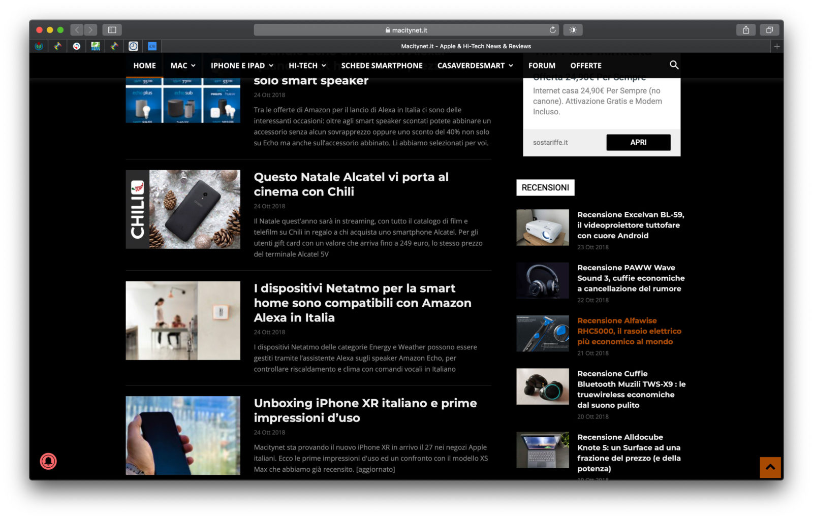"Macity in modalità scura con l'estensione ""Dark Mode for Safari"""