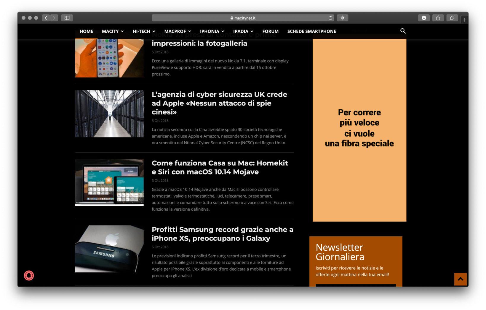 """Il notro sito visualizzato in modalità Dark sfruttando l'estensione """"Dark Mode"""" per Safari"""