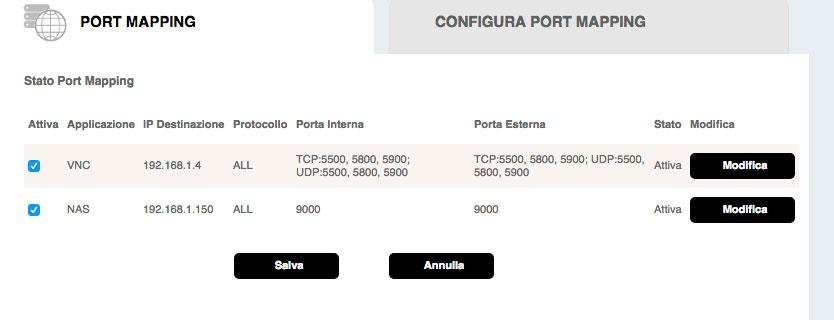 Esempio di schermata configurazione del port mapping su un router