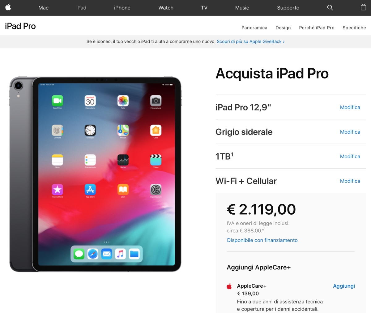 prezzi Apple record: MacBook Air 3.119 euro, Mac mini 4.989 euro, iPad Pro 2.119 euro