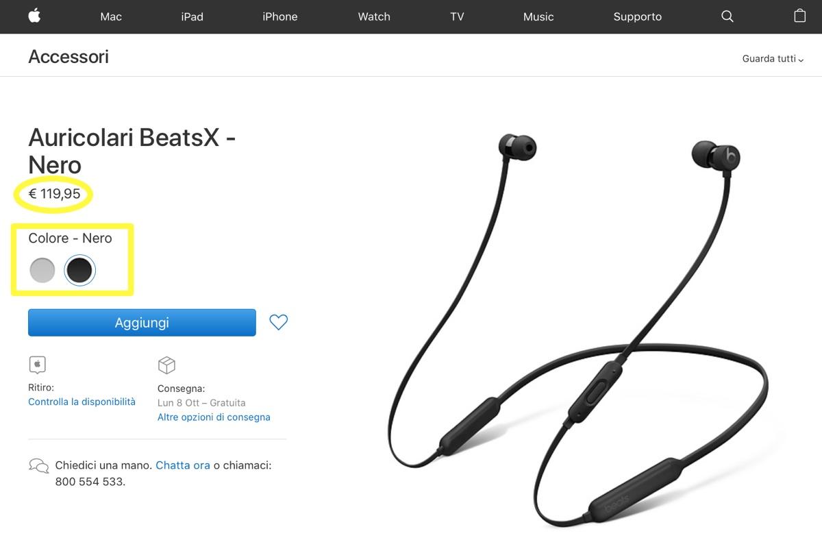 Apple taglia prezzo e colori degli auricolari BeatsX
