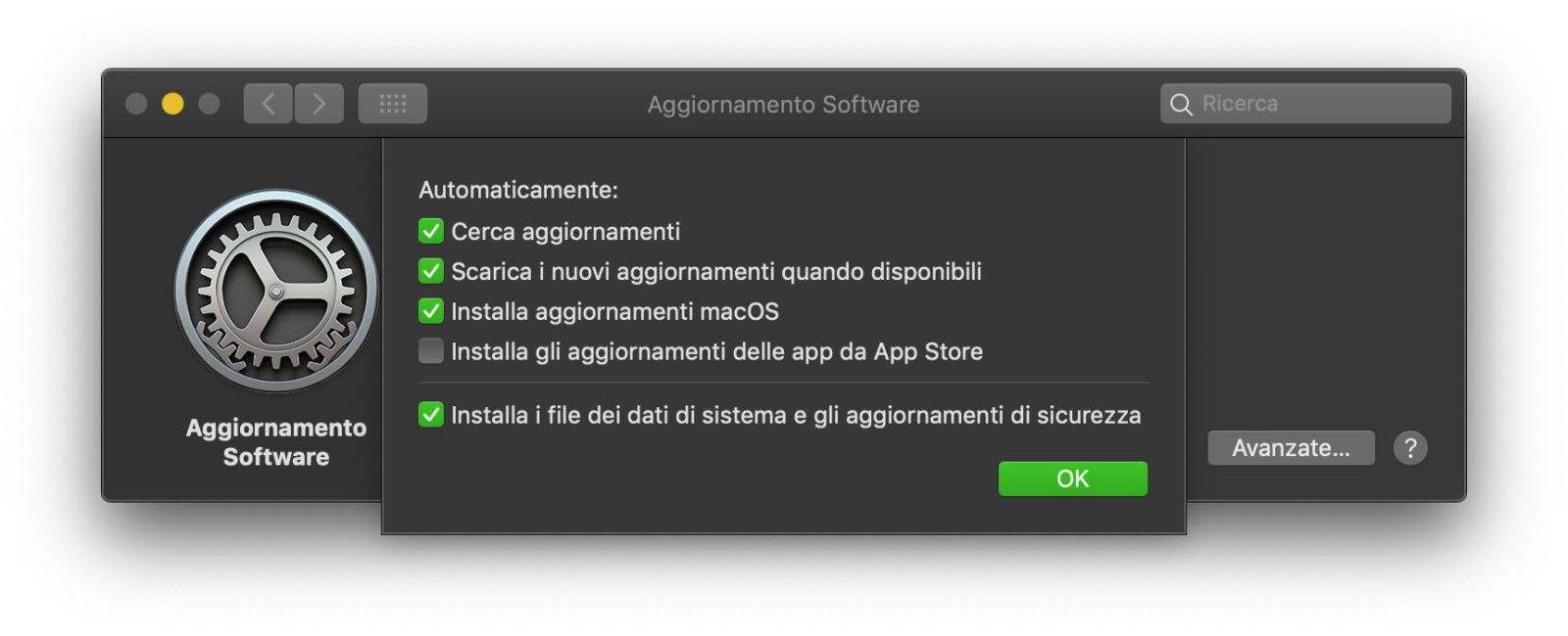 Il pannello di aggiornamento del sistema operativo