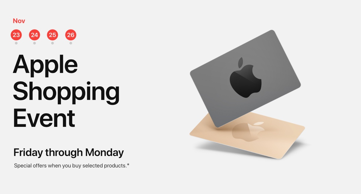 Con Apple Black Friday arrivano le carte regalo per chi compra iPhone, iPad, Mac e Beats