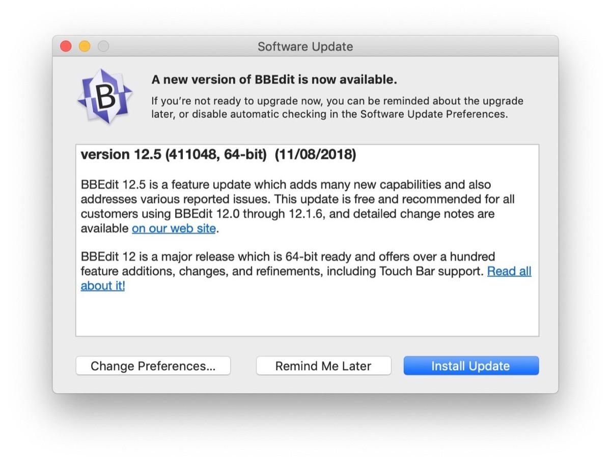 Bare Bones aggiorna BBEdit alla versione 12.5