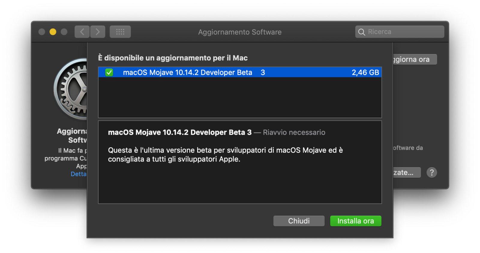 La beta 3 dell'update a macOS 10.14.2