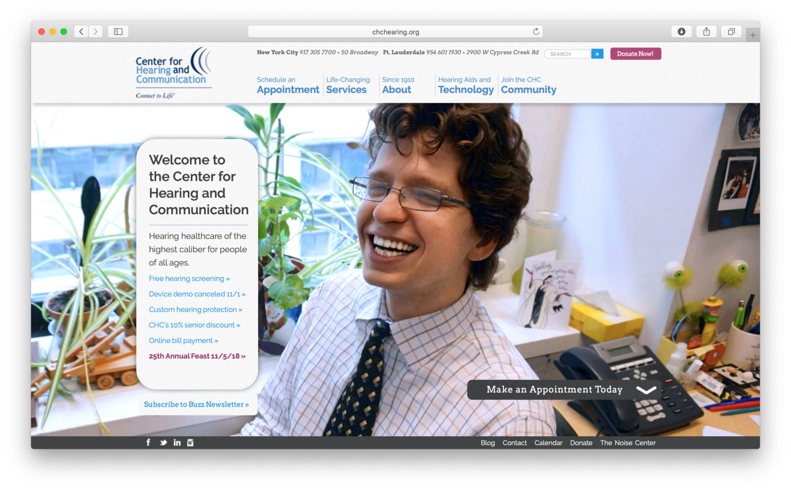 La Home page del Center for Hearing and Communication