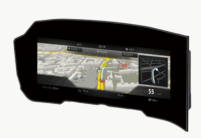Il primo quadro strumenti curvilineo per le auto