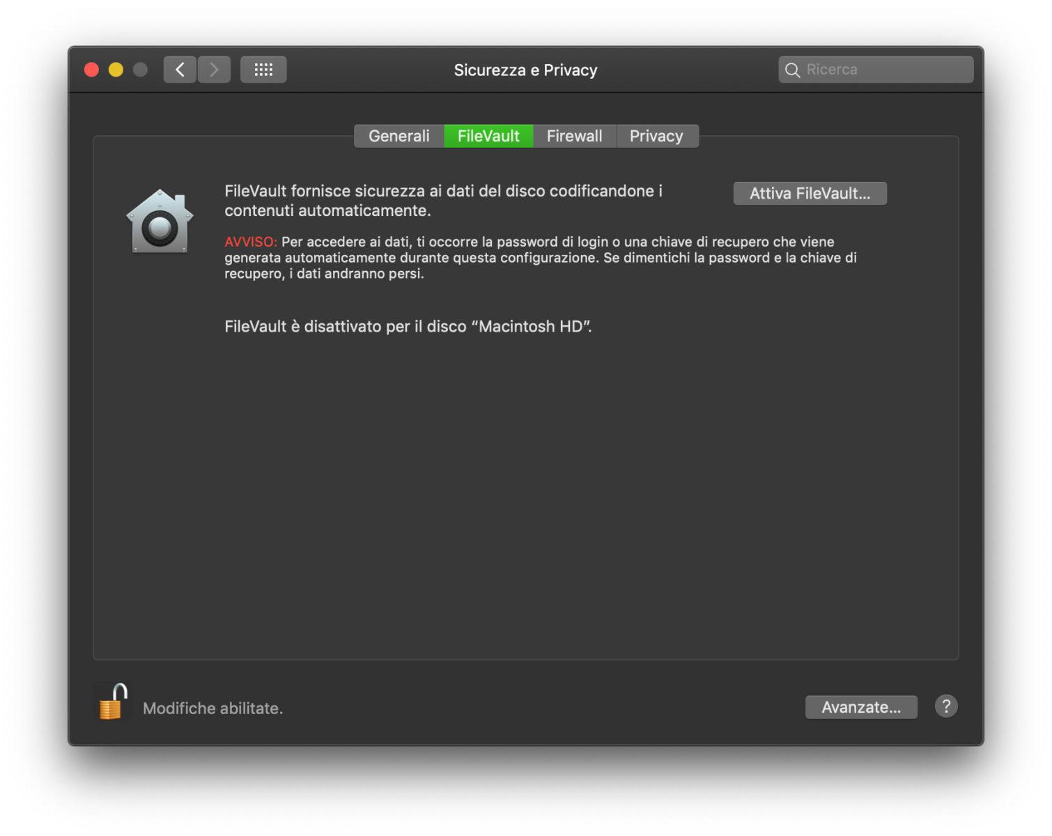 FileVault su Mac