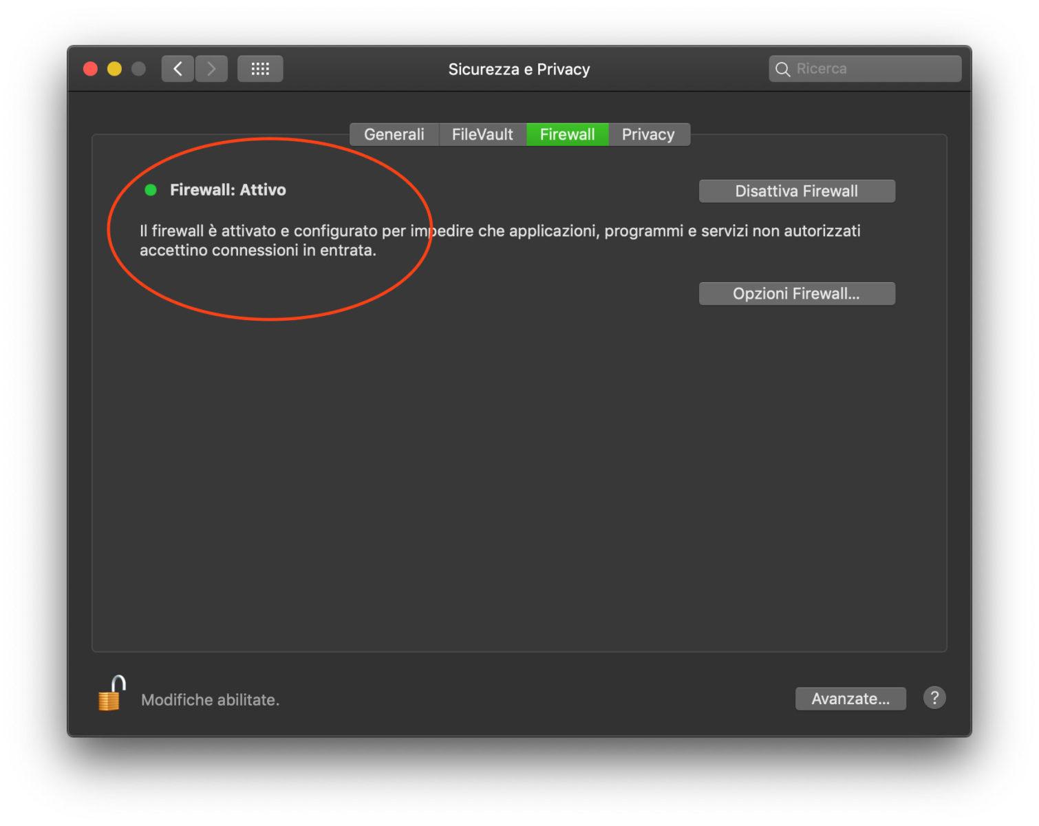 Controlli del firewall di macOS