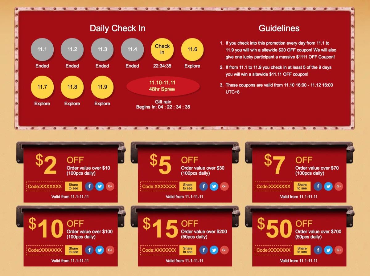 Daily Check-in, su Geekbuying in regalo buoni sconto fino a 50 dollari