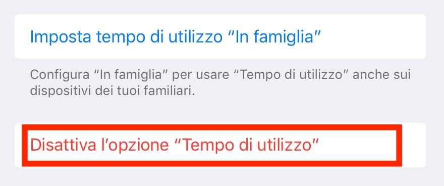 Come disattivare Tempo di Utilizzo iOS 12