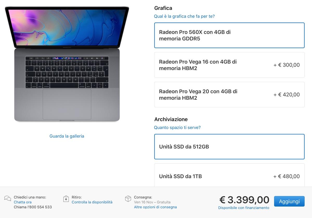 MacBook Pro con Radeon Pro Vega ora disponibile anche in Italia