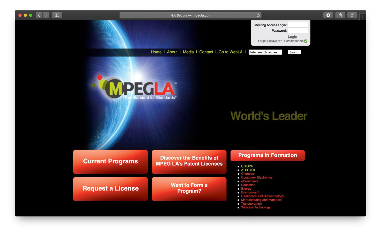 Il sito di MPEG LA
