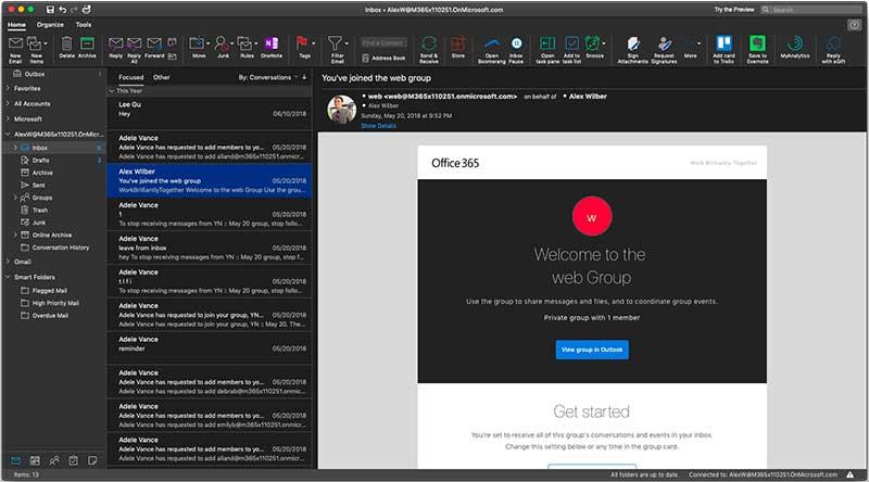Microsoft sperimenta un nuovo design in Outlook per Mac con il tema Dark