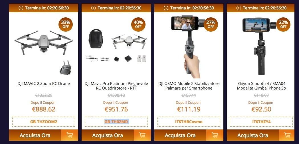 Drone TIANQU a 8 €, stampante Creality 3D a 87 € e droni DJI scontati