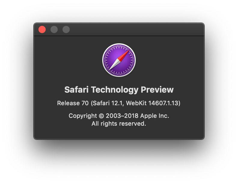 Safari Technology Preview 70 per macOS High Sierra e Mojave