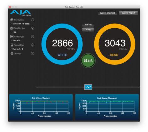Benchmark con Aja System Test