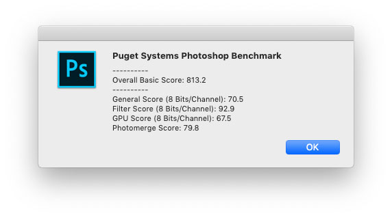 Il test con il benchmark Puget System per Photoshop