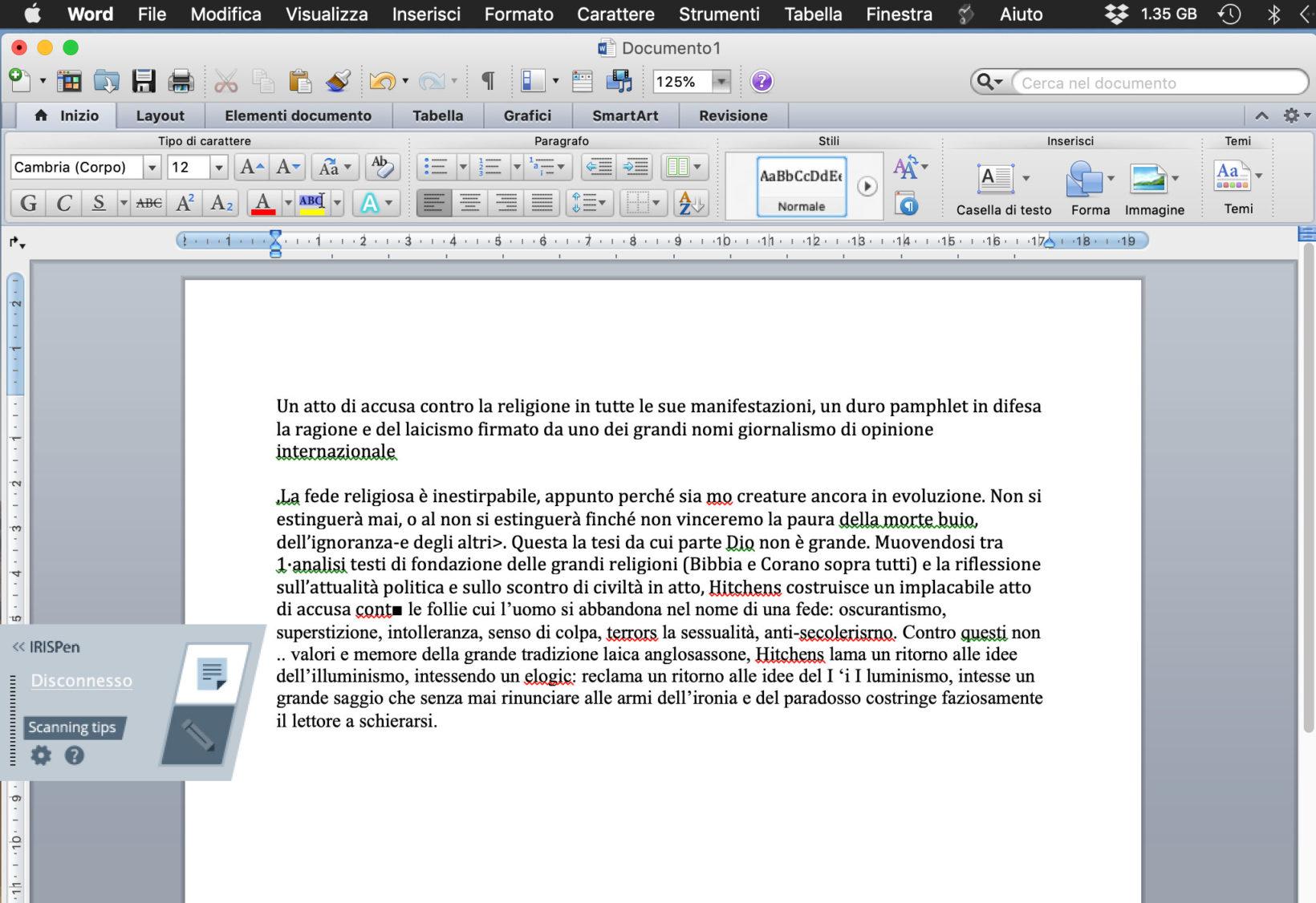 Il testo ottenuto scansionando la quarta di copertina del libro nella foto precedente