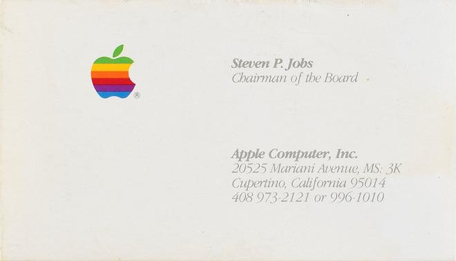Il biglietto da visita di Steve Jobs quando la sede di Apple a Cupertino era a Mariani Avenue