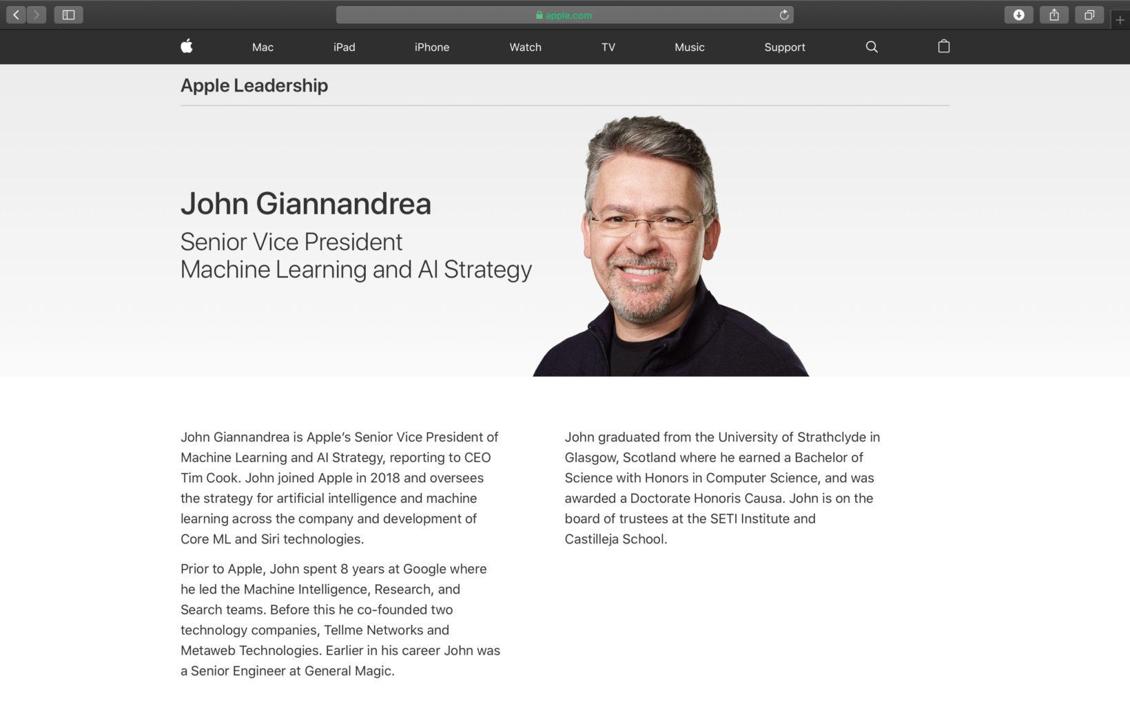 John Giannandrea è il nuovo vice presidente senior di Apple