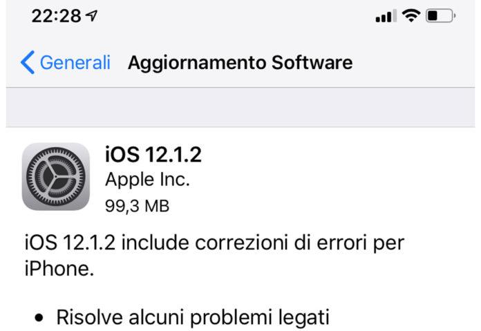 Disponibile aggiornamento a iOS 12.1.2