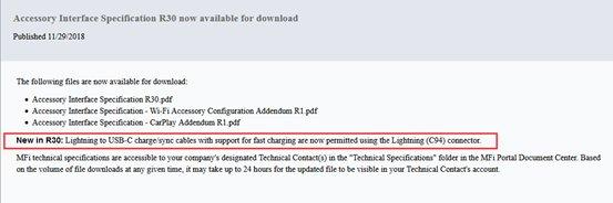 I cavi USB-C Lightning certificati Apple potrebbero arrivare prima del previsto