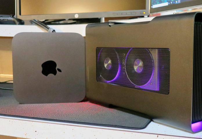 Mac mini con GPU esterna. Foto: eGPU.io