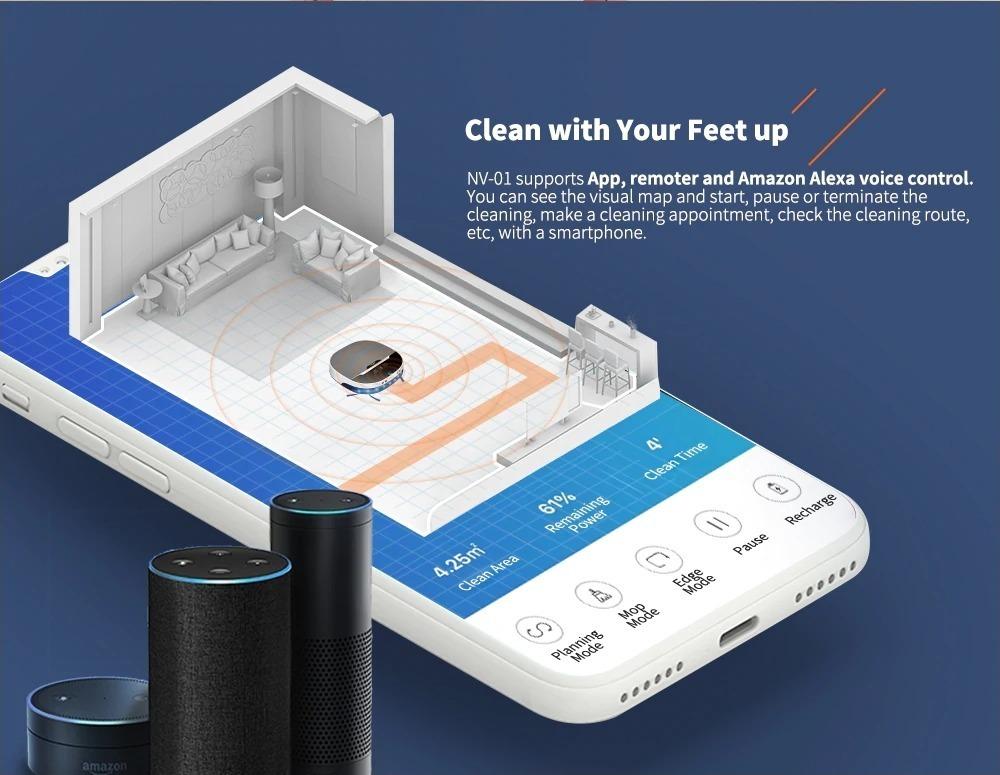 MinSu NV, l'aspirapolvere robot con controllo vocale compatibile con Amazon Alexa