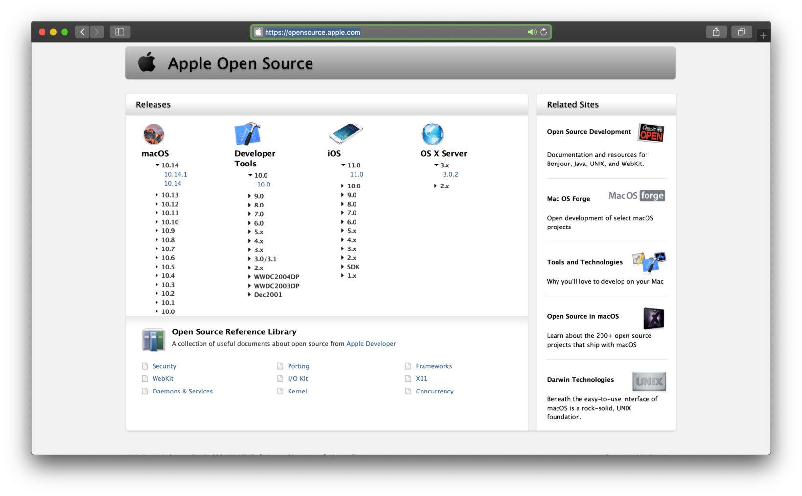sito web open source di Apple