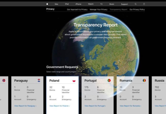 Il report di Apple con le richieste di polizia e forze dell'ordine è ora disponibile in un sito web interattivo