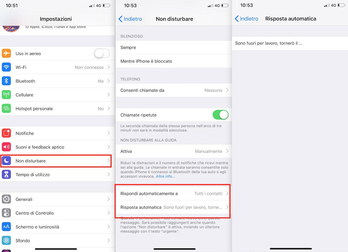 Come impostare risposta automatica via SMS su iPhone