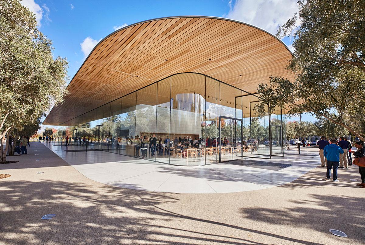 Il Visitor Center è un'estensione architettonica dell'Apple Campus di Cupertino
