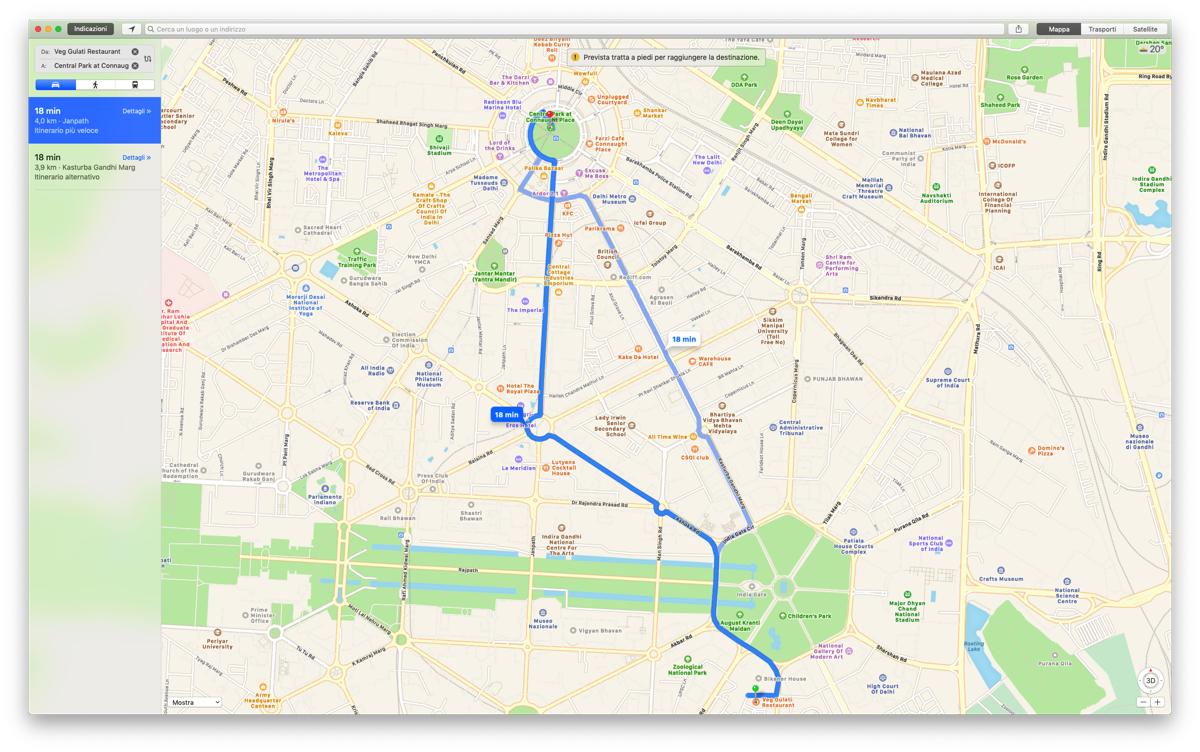 Apple Mappe ora offre le indicazioni stradali in India