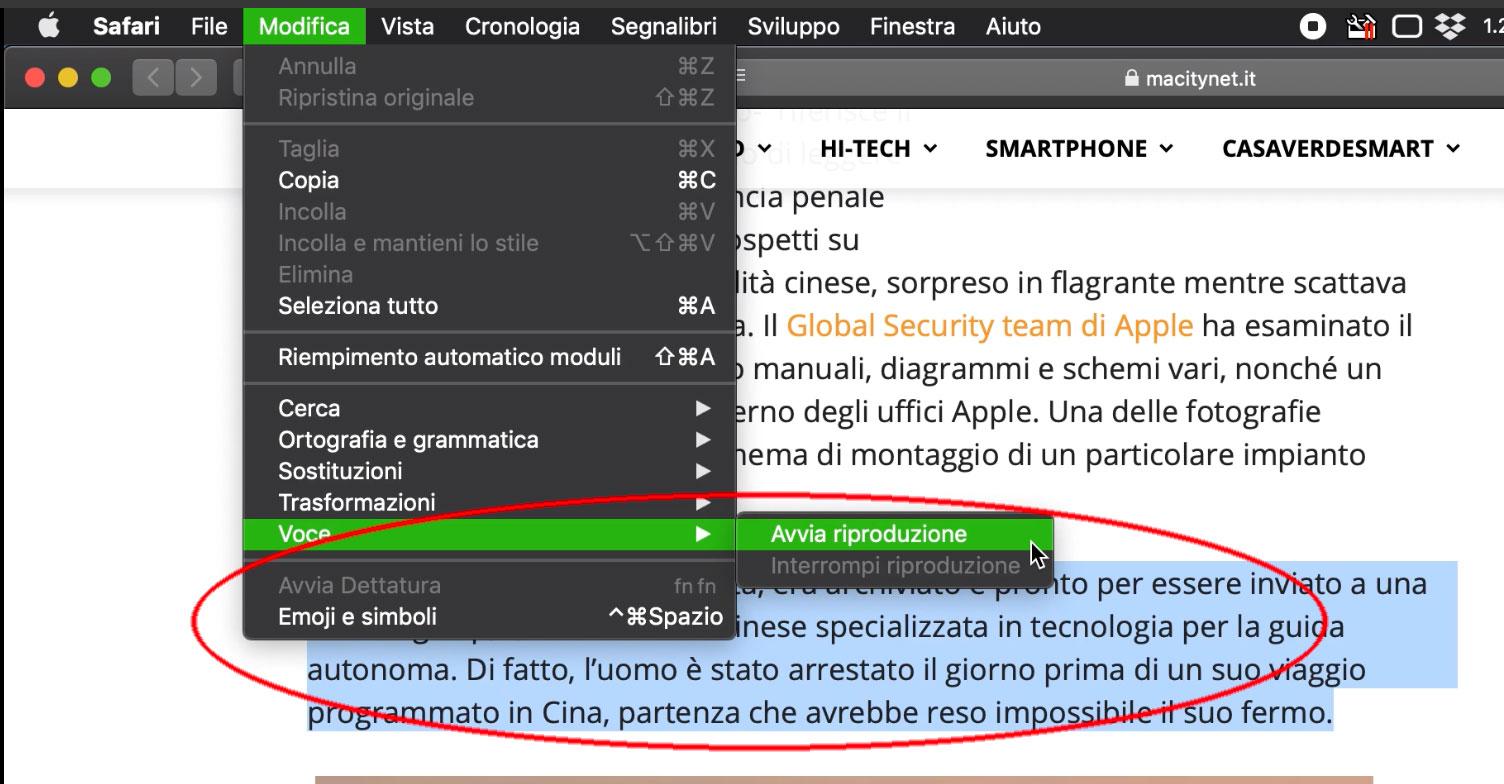"""Con l'opzione """"Avvia riproduzione"""" è possiible far leggere al Mac un documento o una parte di questo."""