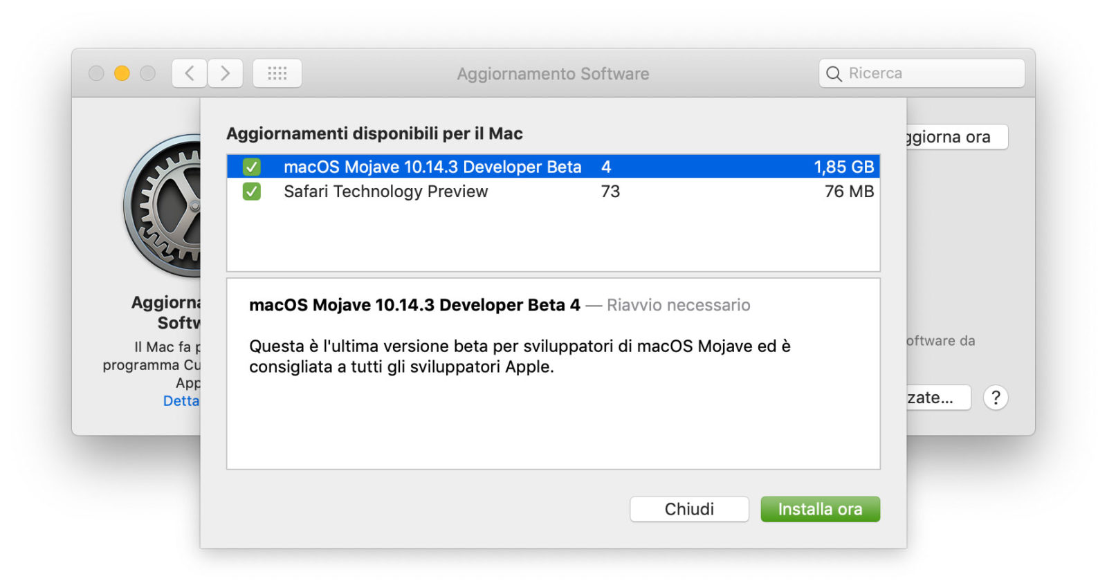 Quarta beta di macOS 10.14.3 agli sviluppatori