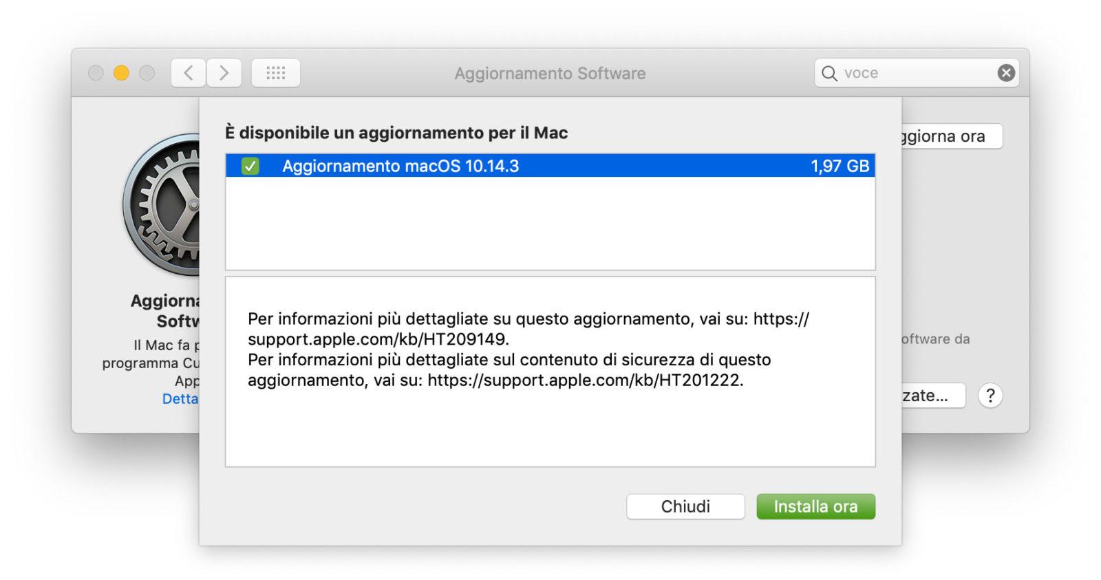 Aggiornamento a macOS 10.14.3