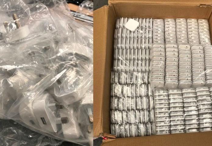 Prodotti Apple contraffatti individuati dalla polizia del Regno Unito nel 2017