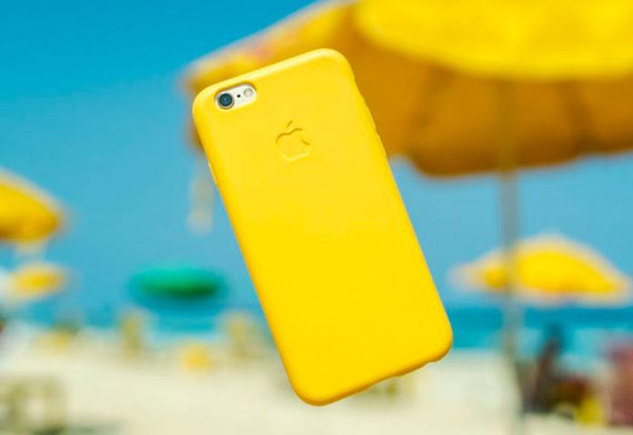 iPhone con cover colore giallo