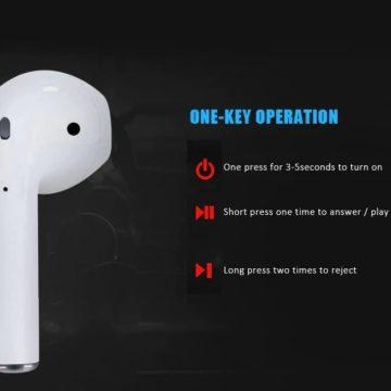 i12, ottime cuffie auricolari true wireless cloni di AirPods con Bluetooth 5.0